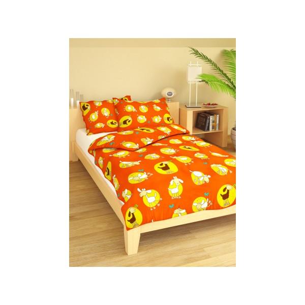 Brotex povlečení Ovečky oranžové bavlna 140x200 70x90 cm
