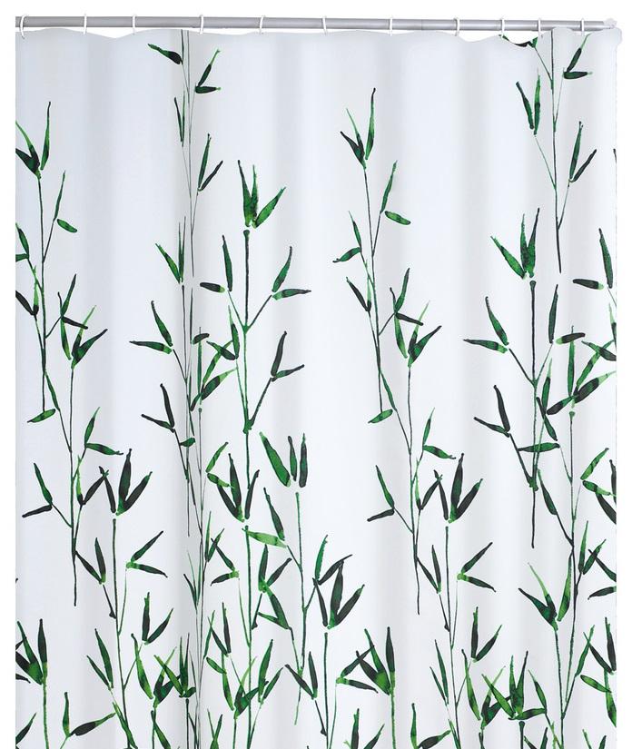 Ridder 47305 BAMBUS Sprchový závěs, textilní - zelený bambus 180 × 200 cm, bez kroužků