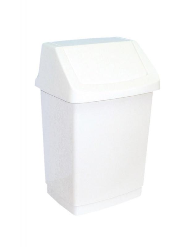 Merida B8B - Odpadkový koš s víkem hranatý plastový bílý 15 l