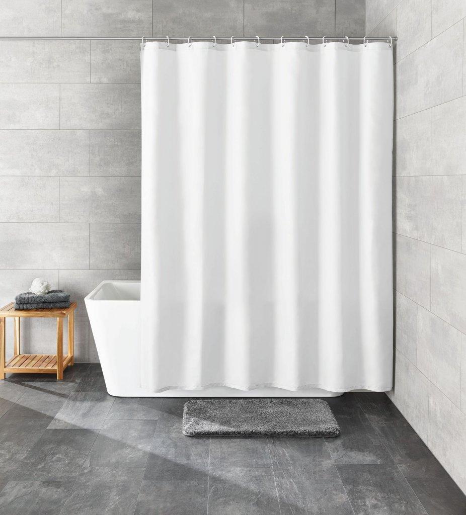 Kleine Wolke KITO bílá, Sprchový závěs 120x200cm, textil, bez kroužků