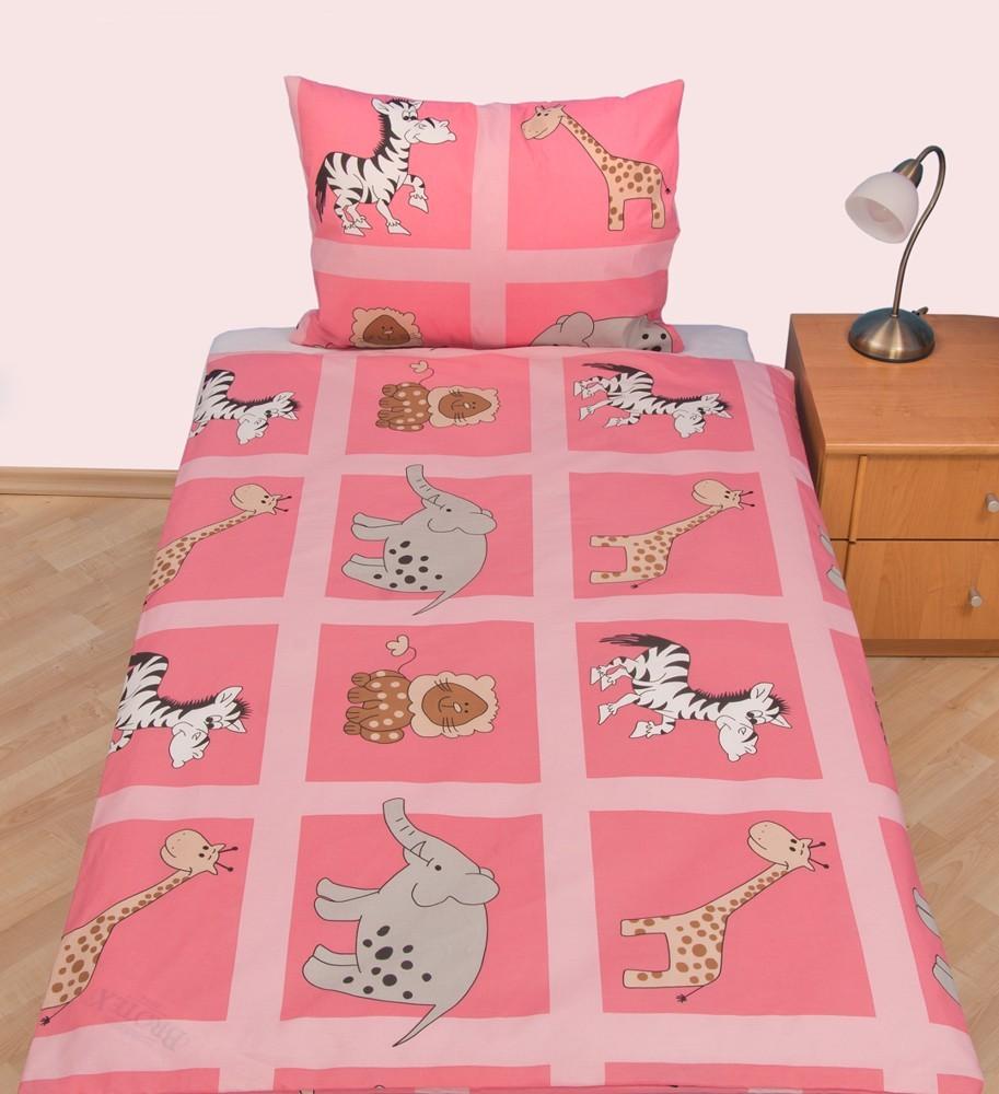 Brotex povlečení Safari růžové bavlna 140x200 70x90 cm