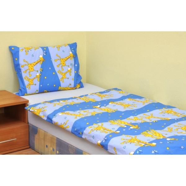 Brotex dětské povlečení Žirafa modrá bavlna 45/60+90/135 cm