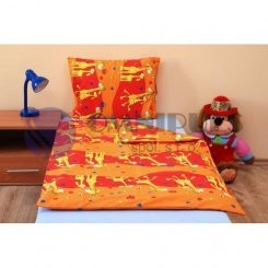 Brotex povlečení bavlna Žirafa oranžová 140x200 70x90 cm