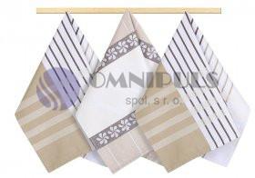 Brotex Kuchyňská utěrka 50x70cm proužek béžový, hnědý, bílý