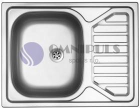 Sinks OKIO 650 V matný, nerezový dřez, se sítkem
