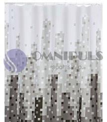 Ridder 47367 SKYLINE Sprchový závěs, textilní - šedý dekor 180 × 200 cm, bez kroužků
