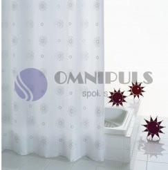Ridder 47137 COSMOS Sprchový závěs, textilní - šedý dekor 120 × 200 cm, bez kroužků