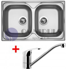 Set Sinks Classic 800 DUO + Pronto, nerezový dřez + baterie Pronto chrom