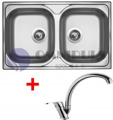 Set Sinks Classic 800 DUO + Evera, nerezový dřez + baterie Evera chrom