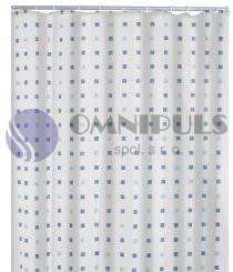 Ridder 41313 DOMINO Sprchový závěs, textilní - modrý dekor 180 × 200 cm , bez kroužků