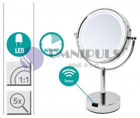 Ridder 03204100 AURORA zvětšovací kosmetické zrcátko 5× - stojací s LED osvětlením